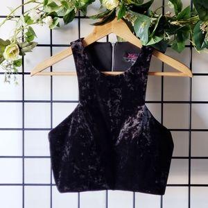 Blondie Nites Black Velvet Dressy Crop Top